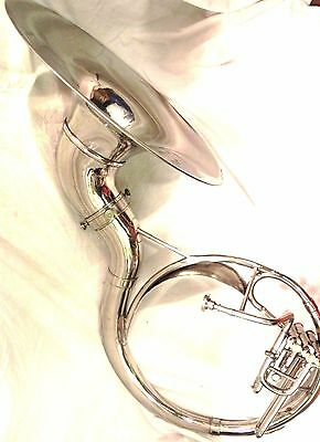 """INDiAN HANDMADE SILVER FINISH 22""""SOUSAPHONE BRASS MADE TUBA MOUTH PIECE WITH BAG"""