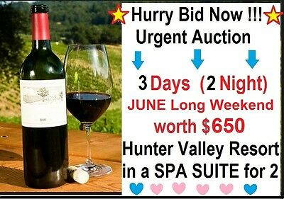 URGENT 2Nts/3days - Sat 10/6 HUNTER VALLEY SPA SUITE - June Long W'End cost $650
