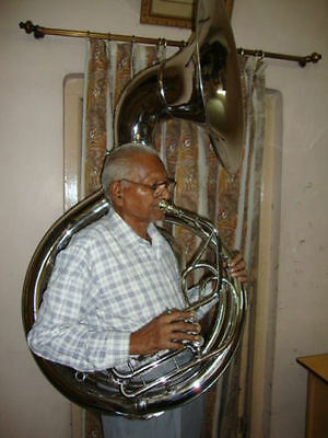 """BEAUTIFUL QUALITY SOUNDS!! SILVER 24""""Bb SOUSAPHONE TUBA WITH FREE HARD CASE+M/P"""