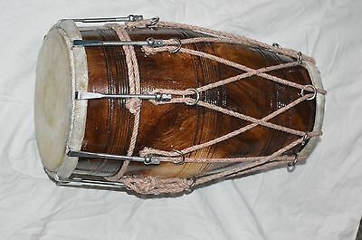 New Sheesham Wood Dholak 17 Inch Fit With Leather Skin Bold & Rope W/ Bag & Ship