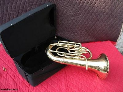 Indian Queen_Euphonium*4Valve-Bb-F-Pitch-Good_Brass Finish-Sound-W-Case-Mp