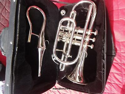 """Awesome Queen Nice 4 Valve Chrome Echo""""cornet Attached Brass Trumpet"""