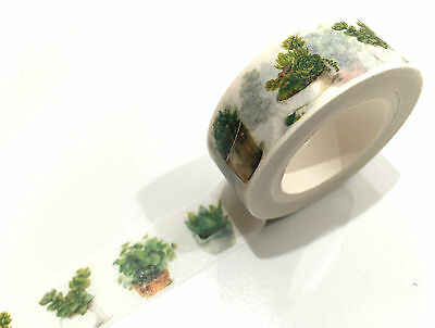 1PC Japanese Washi Tape Craft Sticker, Succulent Pot Plants Gardening Nature 10M