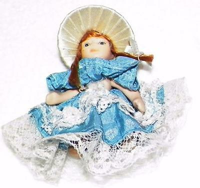 "4 Miniature Jointed Porcelain Dolls Lacey Dress-Bonnet 3"" Dollhouse Collectibles"
