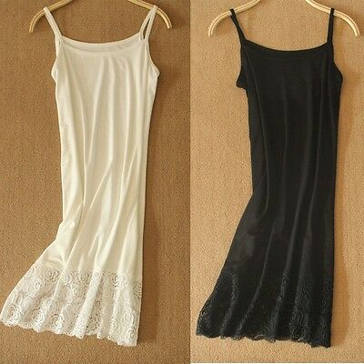 Modal Lace Full Slips Dress Stretchy Strappy Cami Soft Petticoat Chemise Comfort