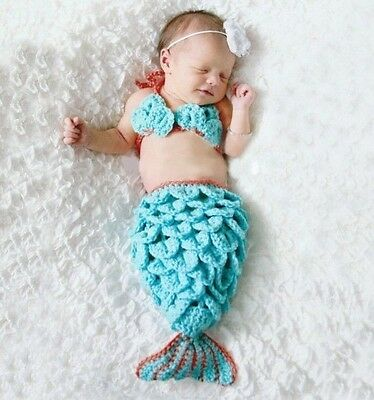 Newborn Baby Crochet Knit Costume Photography Prop Outfit ~Blue Mermaid~@