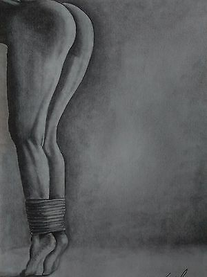 Nude Female Tied Legs Picture 11x14in. Original Art Pencil Drawing Signed