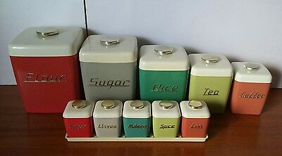 Vintage Retro Harlequin Nally Ware Canisters with Matching Spice Set on Tray