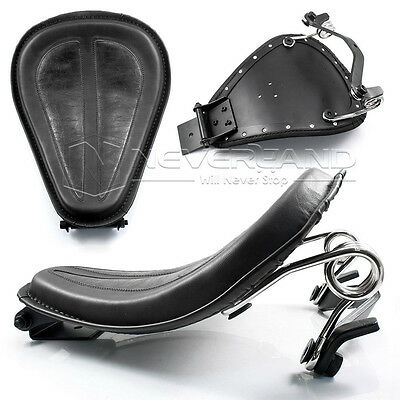 Black PU Leather Solo Seat+Silver Bracket Spring for Harley Sportster XL1200 883