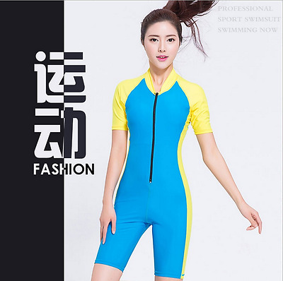 Women Beach Rash Guard Surfing Diving Skin Short Sleeves Shorty Swimwear Sunsuit