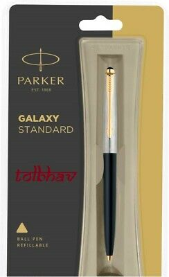 Parker Galaxy GT Gold Trim Ball Pen BP Black Body Blue Ink Jotter Vector Classic