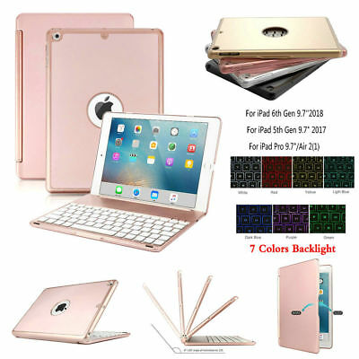 AU 7 Colors Backlight Keyboard Case Smart Cover For iPad 6th 9.7 2018 2017 5th
