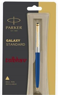 Parker Galaxy GT Gold Trim Ball Pen BP Blue Body Blue Ink Jotter Vector Classic