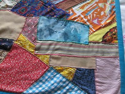 Handmade Crazy Pattern Patchwork Quilt Throw Rug Material Sewing Fabric
