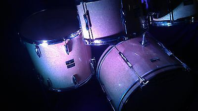 Vintage Premier Olympic drum set 22/12/13/16 SILVER/GOLD GLASS GLITTER 70's gc!