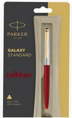Parker Galaxy GT Gold Trim Ball Pen BP Red Body Blue Ink Jotter Vector Classic