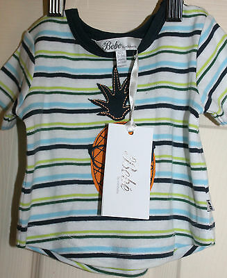 New with  Tags BEBE babies Striped T-Shirt with pineapple  embroidery size 000