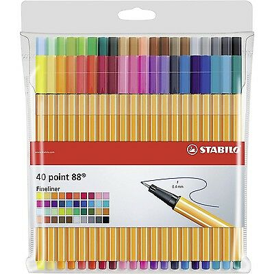 STABILO Point 88 Fineliner Ballpoint Pens - Assorted Colours Art Wallet of 40