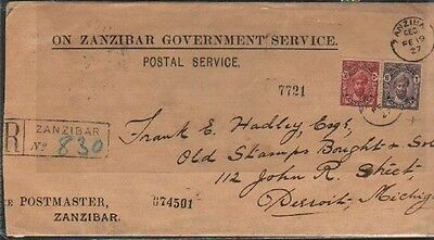 Oman Zanzibar Rare 1927 Registerd Goverment Cover With Red Wax Seal On Back Sca
