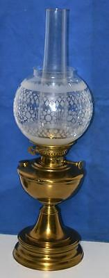 Antique Brass Oil Lamp with LAMPE VERITAS burner & Etched Glass Shade [PL3520]