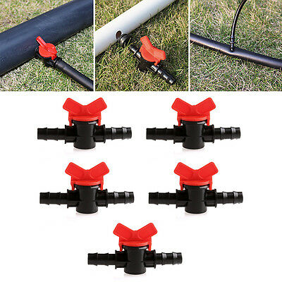 5Pcs 16mm Coupling Pipe Irrigation Water Hose Switch Plastic Valve