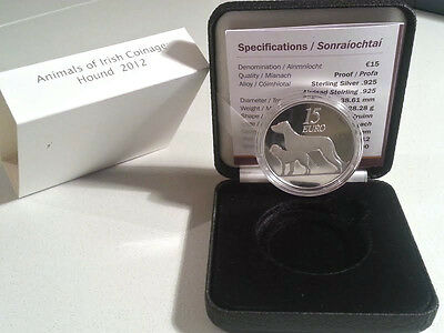 Ireland 2012 €15  Animals of Irish Coinage Series Hound Silver Proof Coin