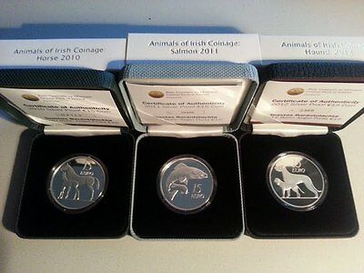 Ireland 2010, 2011, 2012 Animals of Irish Coinage Silver Proof Coin Collection
