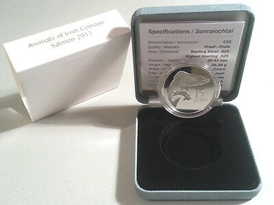 Ireland 2011 €15 Animals of Irish Coinage Series Salmon Silver Proof Coin