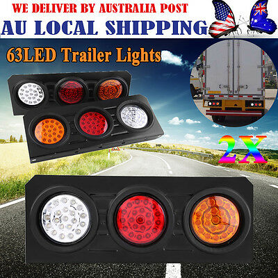 2X 12V 63LED Rectangle Tail Lights Truck Trailer Stop Reverse Earth Indicator
