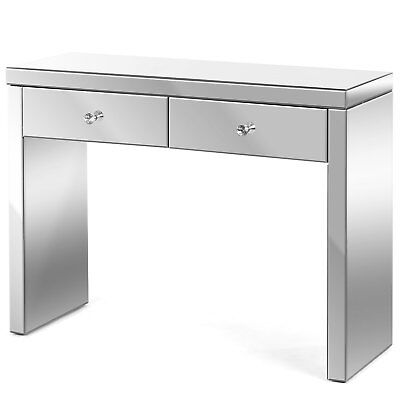 Mirrored Glass Dressing Table 2 Drawer Console Hallway Bedroom