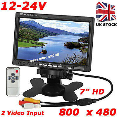 "12V-24V HD 7"" LCD Color Screen Monitor for Car Rear View Reversing Backup Camera"