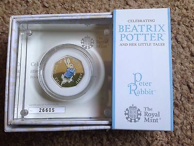 Peter Rabbit Silver Proof 50p Coin Royal Mint Beatrix Potter 2017 Boxed With COA