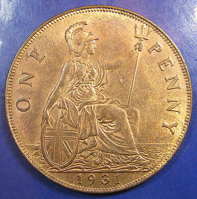 1931 1d George V bronze Penny - aUNC, lustrous, and lovely
