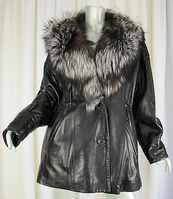 Vtg 80's J PERCY MARVIN RICHARDS Coat 16016 Womens Small Black Leather Fox Fur