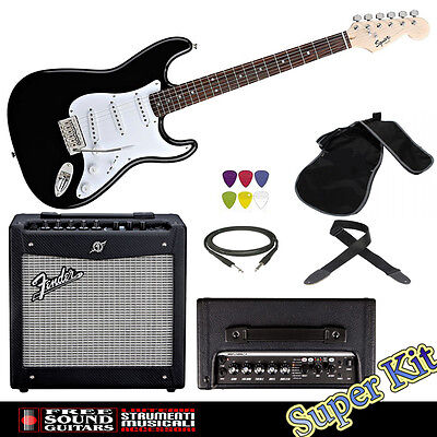 KIT CHITARRA FENDER SQUIER BULLET + AMPLIFICATORE FENDER MUSTANG 1v2 + ACCESSORI