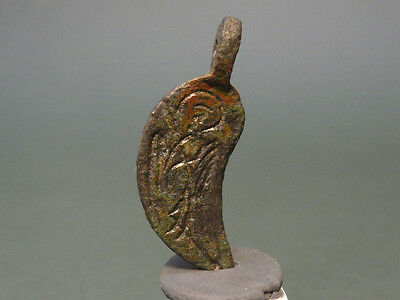Ancient Bronze Pendant Mary Holding Christ Christian Byzantine 400-600 Ad