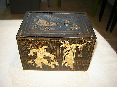 Antique Asian Japanese STORAGE  Box With HAND PAINTED DESIGNS AND SLIDING LID