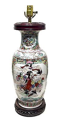 Fine Antique Vintage Chinese Famille Rose Porcelain Hand Decorated Lamp