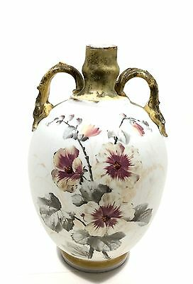 Rare Antique Hand Painted Floral Art Glass Handled Vase