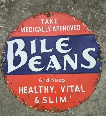 1900s BILE BEANS PILL ANTIQUE DRUG STORE VINTAGE DOOR PUSH PORCELAIN ENAMEL SIGN