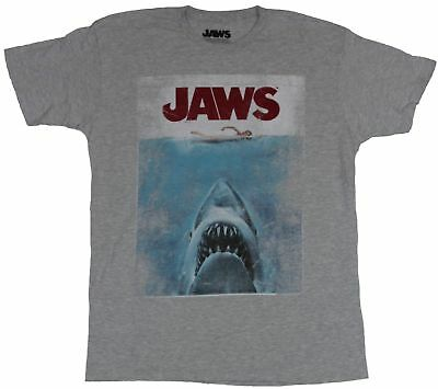 Jaws Mens T-Shirt -  Distressed Edges Full Color Poster Image