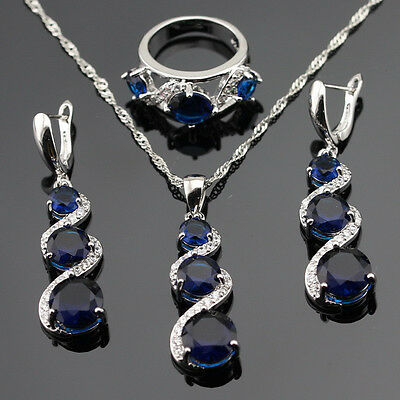 Madagascar Blue Sapphire 925 Silver Gemstone Pendant  Earrings Set - Gift boxed