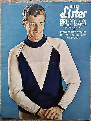Vintage/retro knitting pattern Lister N1653 mens sweater