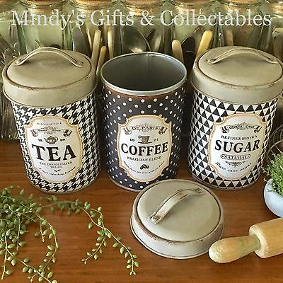 Vintage Style Set of 3 Round Metal Kitchen Canisters with Lids Tea Coffee Sugar
