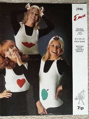 Vintage/retro knitting pattern Emu 2946 ladies tank tops with crochet motifs