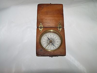 Antique Mahogany Cased Pocket Compass Civil War Era