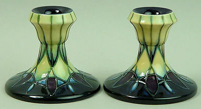A Stylish Pair Of Moorcroft Art Pottery Squat Candlesticks 'indigo' C.2000/2001