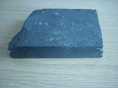 """1"""" thick small slab of slate - approx 3"""" x 5"""" - grey natural stand display"""
