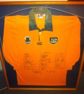 1991 Signed Framed Rugby World Cup winning Australia Wallabies jersey