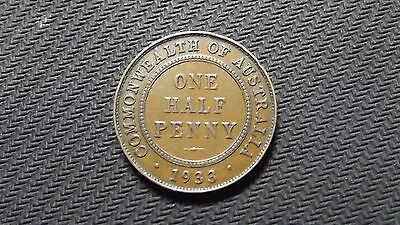 1933/32 overdate Half Penny. Very Scarce Coin. See Pictures